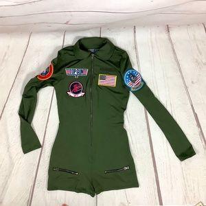 Leg Avenue Top Gun Green LS Zip Up Flight Suit